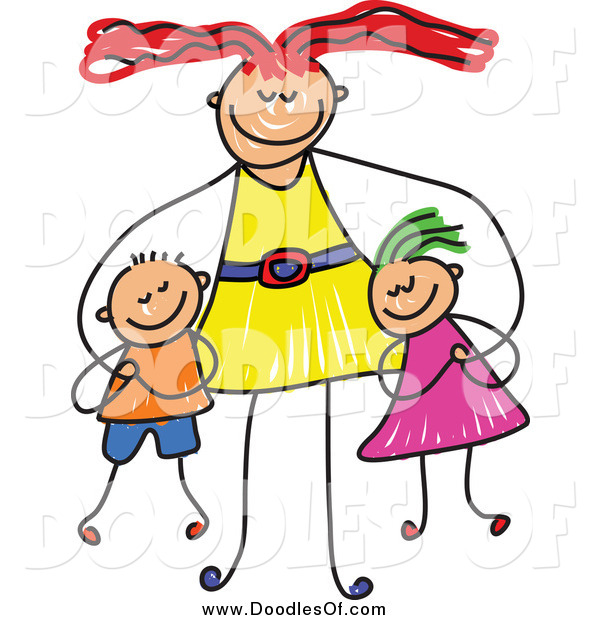Vector Clipart of a Doodled Happy Mom Hugging Her Son and Daughter
