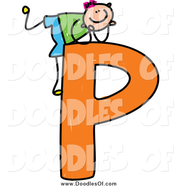 Vector Clipart of a Doodled Happy Pink Haired White Boy Resting on Top of a Capital Letter P