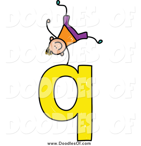 Vector Clipart of a Doodled Happy White Boy Doing a Cartwheel on a Lowercase Letter Q