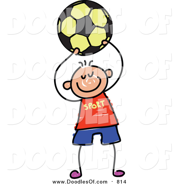 Vector Clipart of a Doodled Happy White Boy Playing Soccer