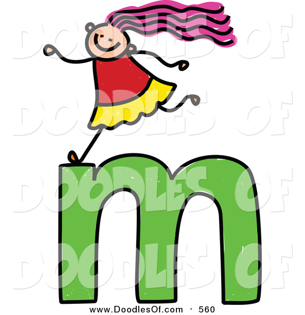 Vector Clipart of a Doodled Happy White Girl on a Lowercase Letter M