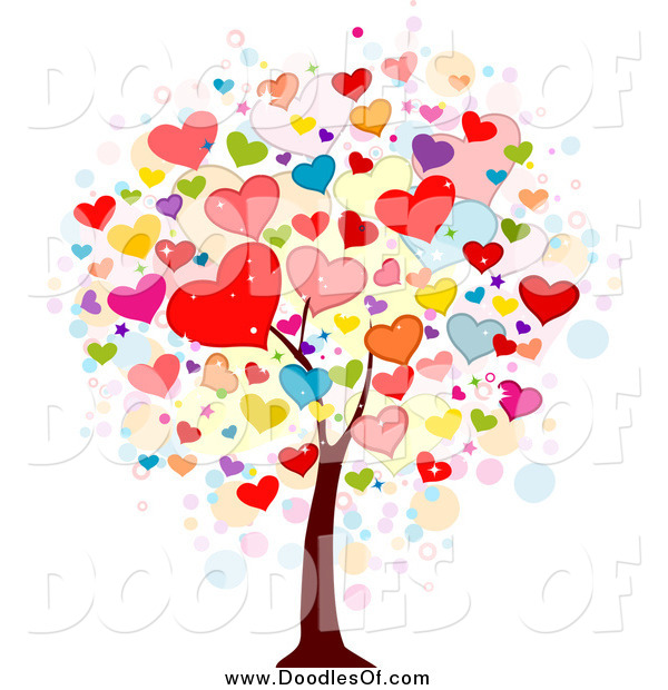 Vector Clipart of a Doodled Heart Valentine Tree