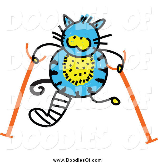 Vector Clipart of a Doodled Hurt Blue Cat Using Crutches