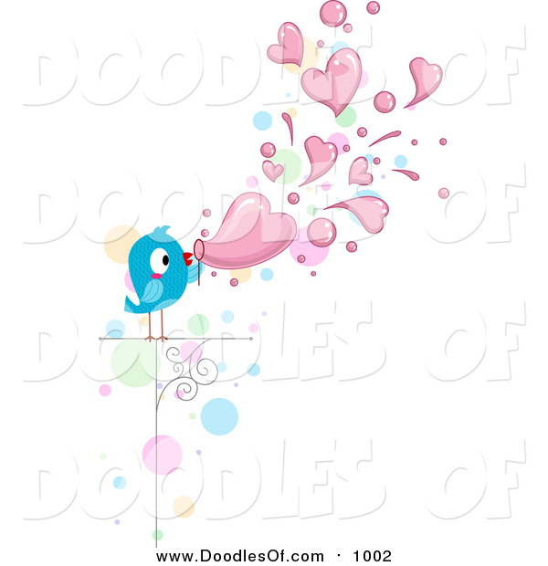 Vector Clipart of a Doodled Love Bird Blowing Heart Bubbles