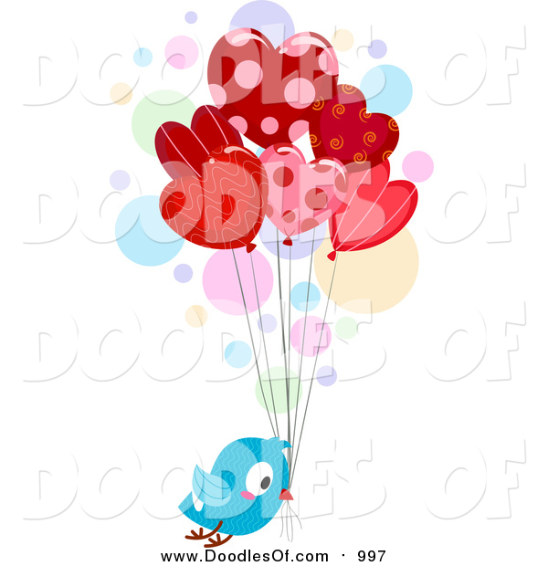 Vector Clipart of a Doodled Love Bird Delivering Heart Balloons