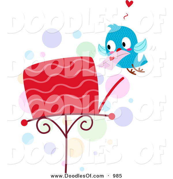 Vector Clipart of a Doodled Love Bird Putting a Letter in a Mailbox