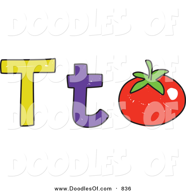 Vector Clipart of a Doodled Lowercase and Capital Letter T with a Tomato