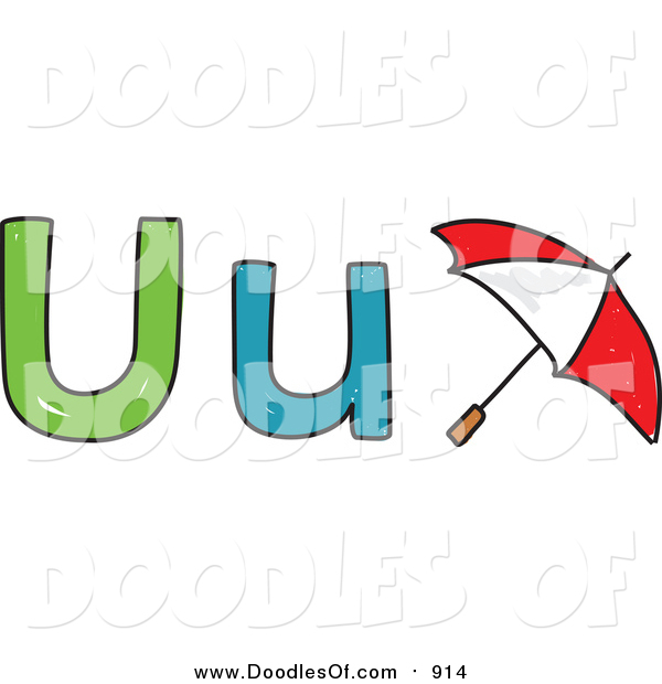Vector Clipart of a Doodled Lowercase and Capital Letter U with a Umbrella