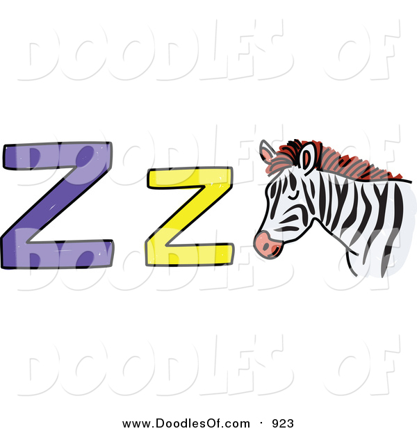 Vector Clipart of a Doodled Lowercase and Capital Letter Z with a Zebra
