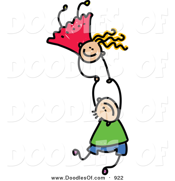 Vector Clipart of a Doodled of Two Caucasian Kids Holding Hands While Falling