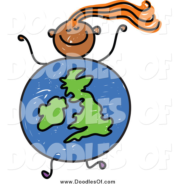 Vector Clipart of a Doodled Orange Haired Black Girl with a Uk Globe Body