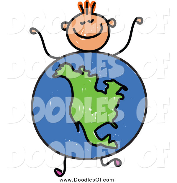 Vector Clipart of a Doodled Orange Haired White Boy with an American Globe Body