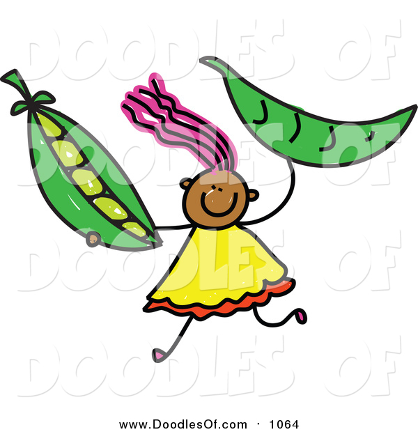 Vector Clipart of a Doodled Pink Haired Black Girl Holding Peas
