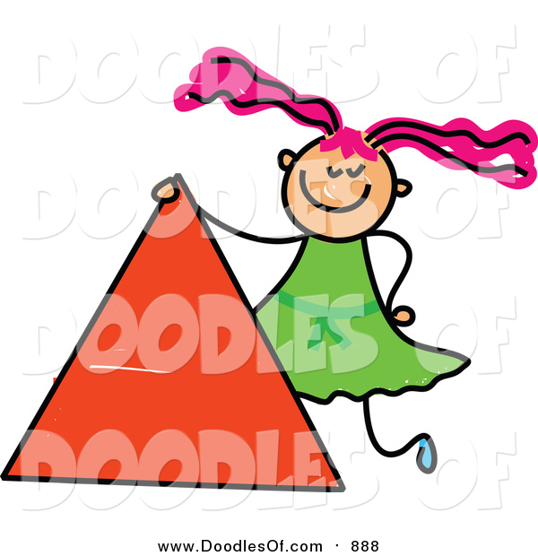 Vector Clipart of a Doodled Pink Haired White Girl by a Triangle