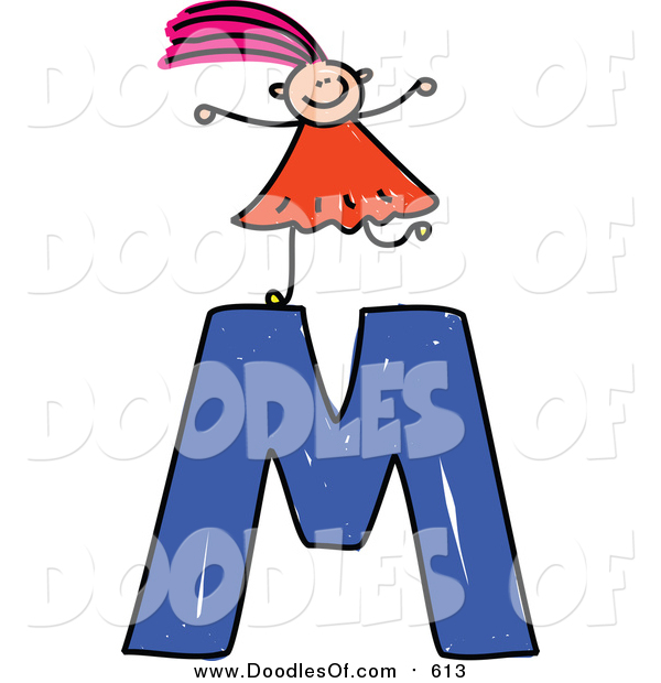 Vector Clipart of a Doodled Pink Haired White Girl on Top of a Capital Letter M