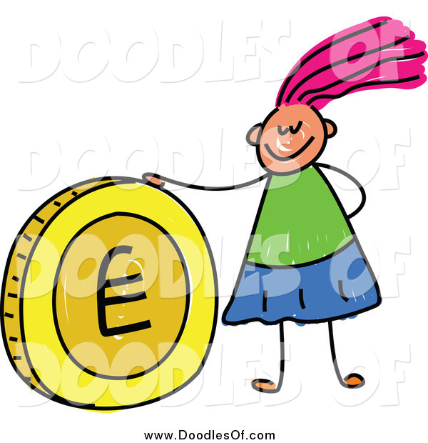 Vector Clipart of a Doodled Pink Haired White Girl with a Euro Coin