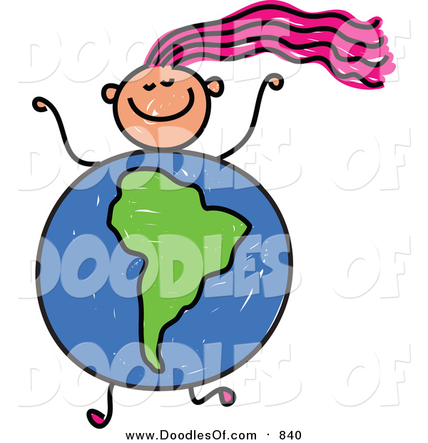Vector Clipart of a Doodled Pink Haired White Girl with a South American Globe Body