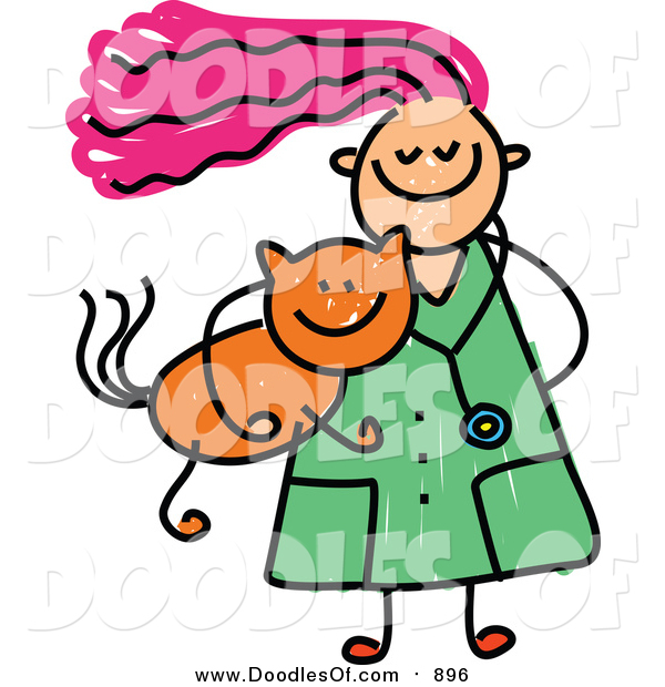 Vector Clipart of a Doodled Pink Haired White Veterinarian Girl Carrying a Ginger Cat