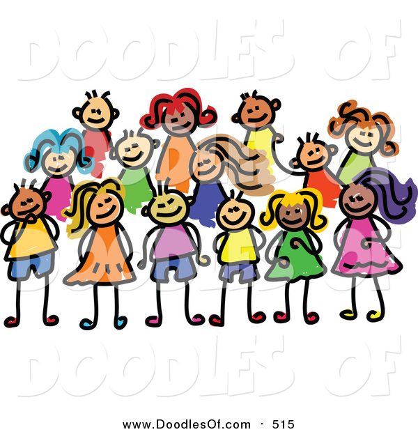 Vector Clipart of a Doodled Posing Group of Kids