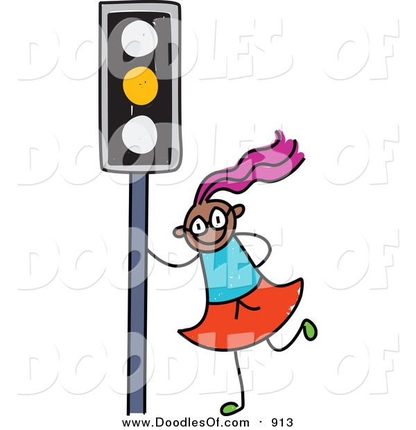 Vector Clipart of a Doodled Purple Haired Black Girl by a Yellow Traffic Light