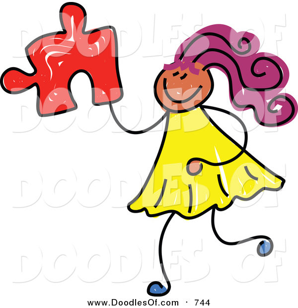 Vector Clipart of a Doodled Purple Haired Black Girl Holding a Puzzle Piece