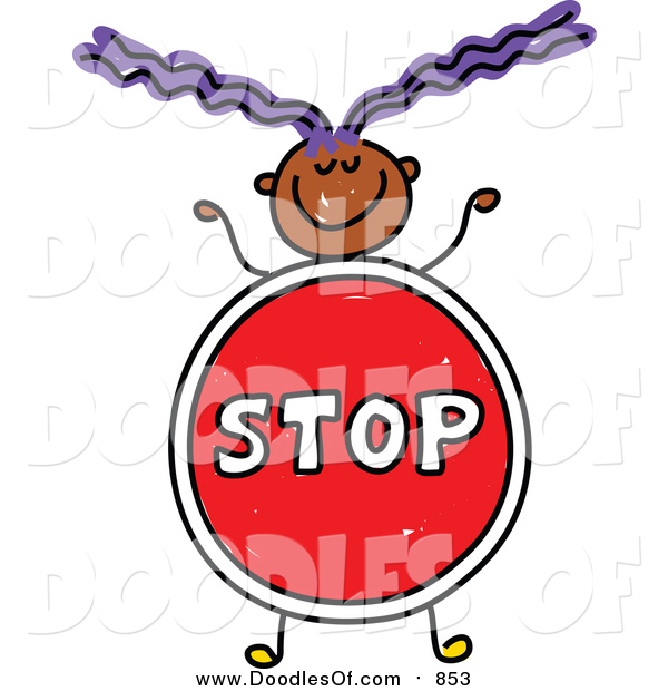 Vector Clipart of a Doodled Purple Haired Black Girl with a Stop Sign Body