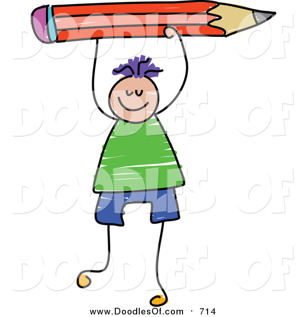 Vector Clipart of a Doodled Purple Haired White Boy Holding up a Red Pencil
