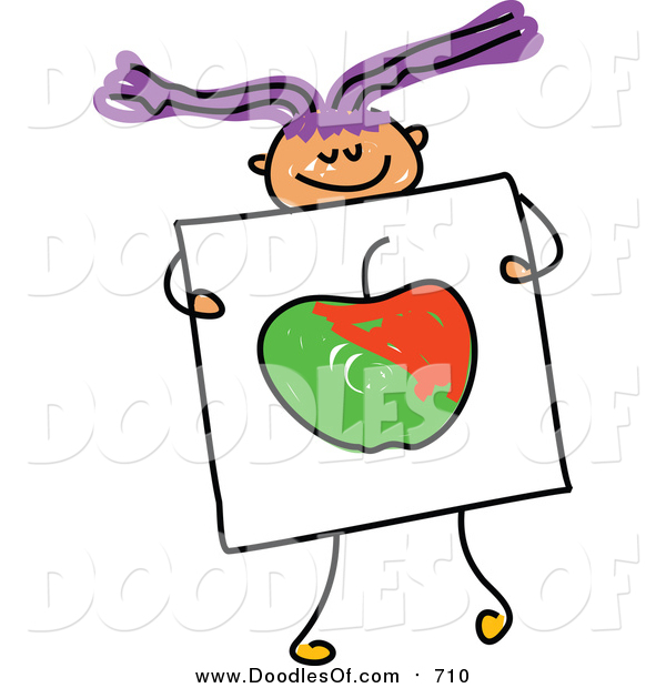 Vector Clipart of a Doodled Purple Haired White Girl Holding a Picture of an Apple