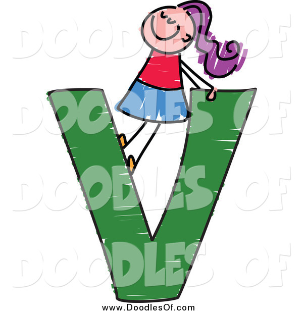 Vector Clipart of a Doodled Purple Haired White Girl in a Capital Letter V