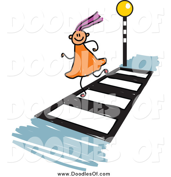 Vector Clipart of a Doodled Purple Haired White Girl Running on a Crosswalk