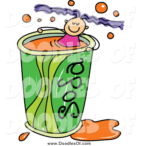 Vector Clipart of a Doodled Purple Haired White Girl Swimming in a Soda Cup