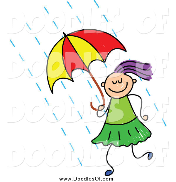 Vector Clipart of a Doodled Purple Haired White Girl Using an Umbrella