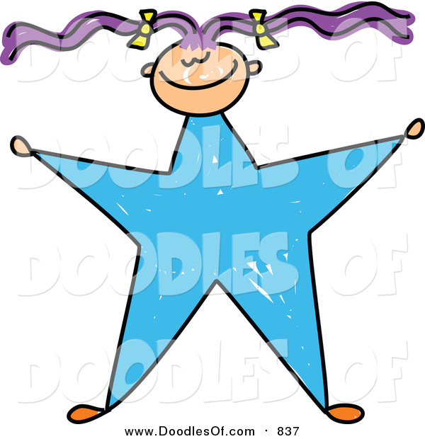Vector Clipart of a Doodled Purple Haired White Girl with a Blue Star Body