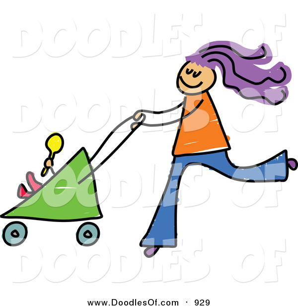 Vector Clipart of a Doodled Purple Haired White Mom Pushing a Baby Stroller