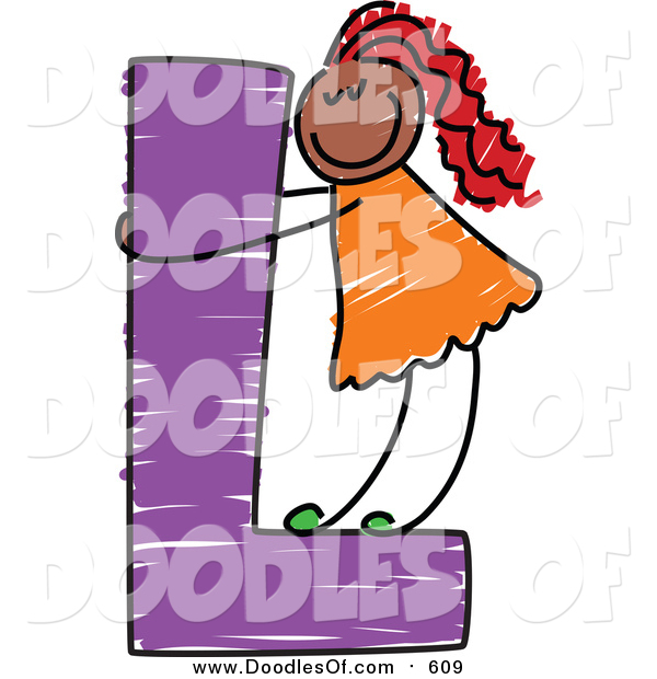 Vector Clipart of a Doodled Red Haired Balck Girl on a Capital Letter L