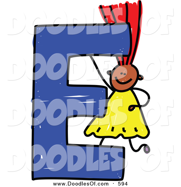 Vector Clipart of a Doodled Red Haired Black Girl with a Capital Letter E