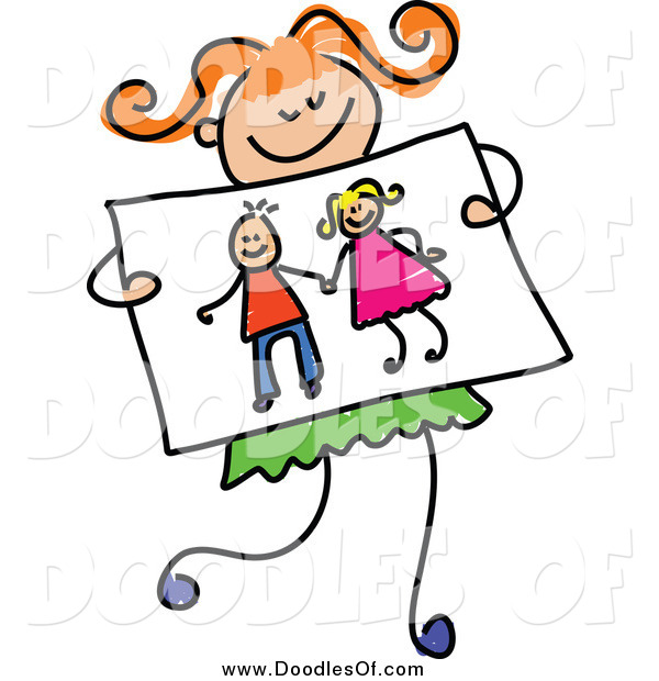 Vector Clipart of a Doodled Red Haired Girl Holding a Drawing of Kids Holding Hands