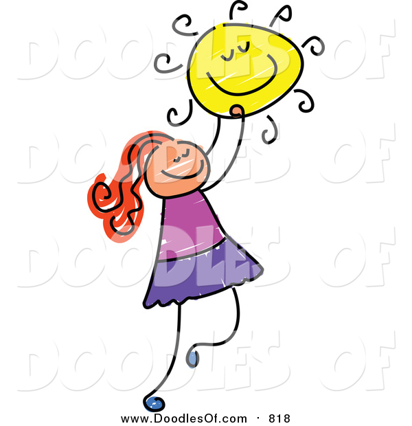 Vector Clipart of a Doodled Red Haired White Girl Holding the Sun