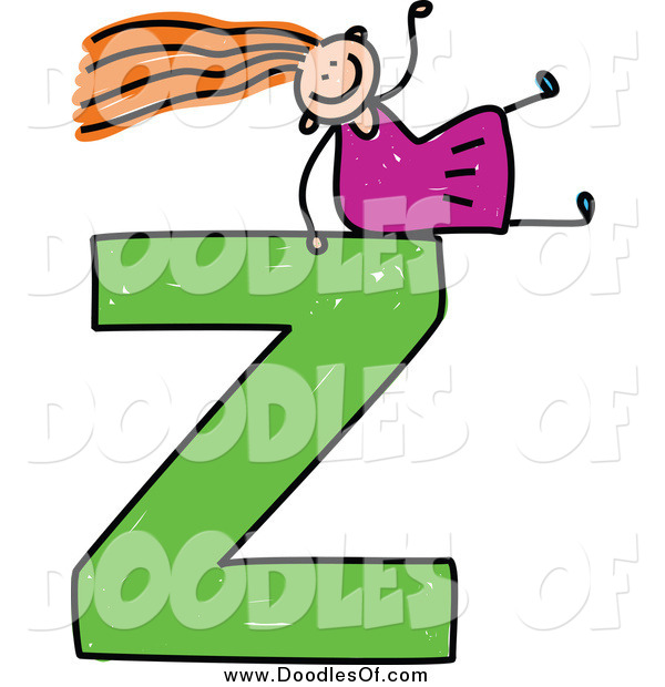 Vector Clipart of a Doodled Red Haired White Girl on a Capital Letter Z