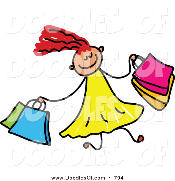 Vector Clipart of a Doodled Red Haired White Girl Shopping