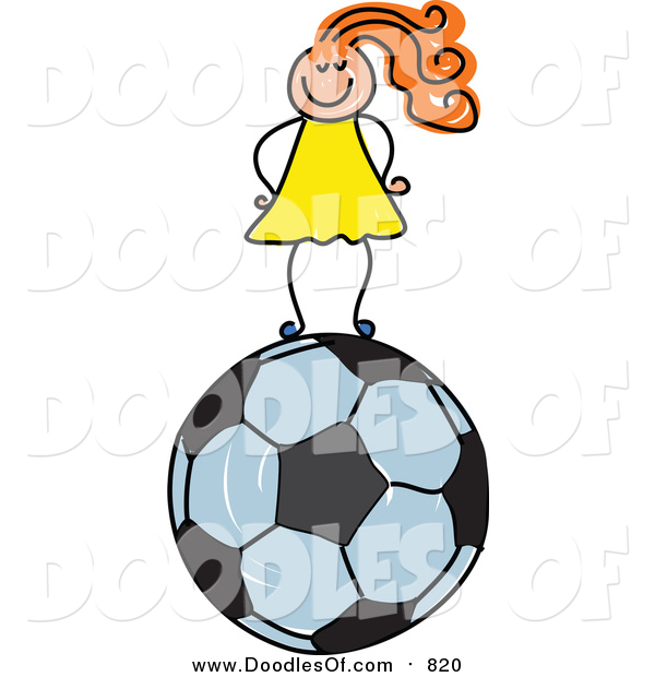 Vector Clipart of a Doodled Red Haired White Girl Standing on a Soccer Ball