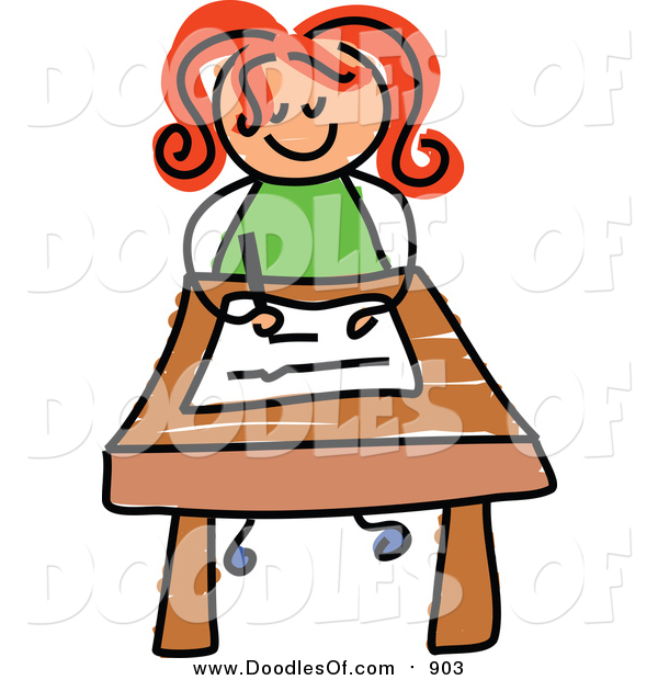 Vector Clipart of a Doodled Red Haired White Girl Writing at Her Desk