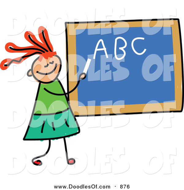 Vector Clipart of a Doodled Red Haired White Girl Writing Her Abcs on a Chalk Board
