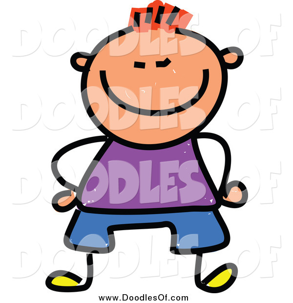 Vector Clipart of a Doodled Red Haired White Happy Short Boy