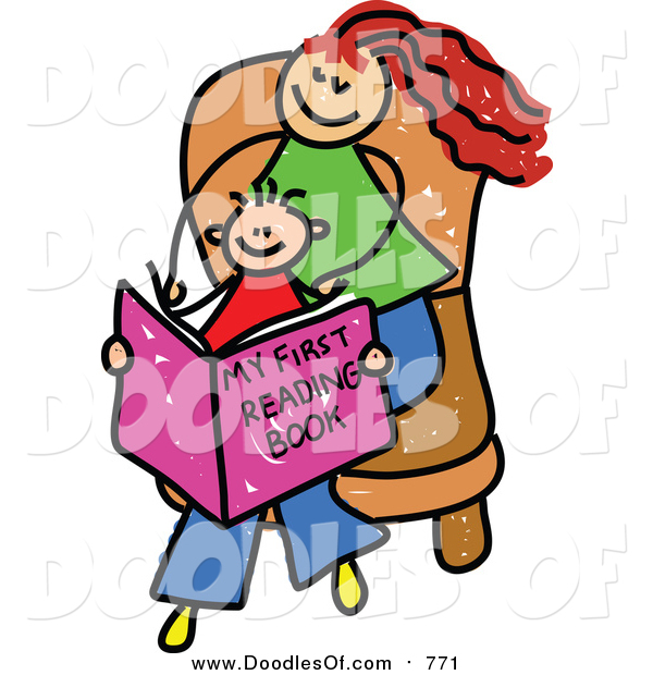 Vector Clipart of a Doodled Red Haired White Mom and Son Reading a Book
