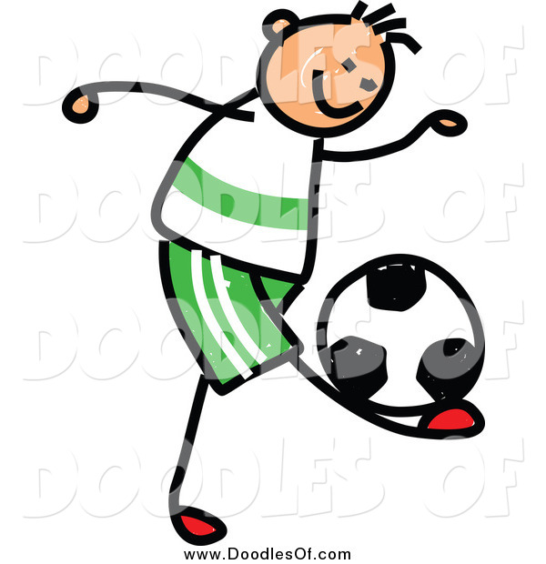 Vector Clipart of a Doodled Sporty Boy Playing Soccer