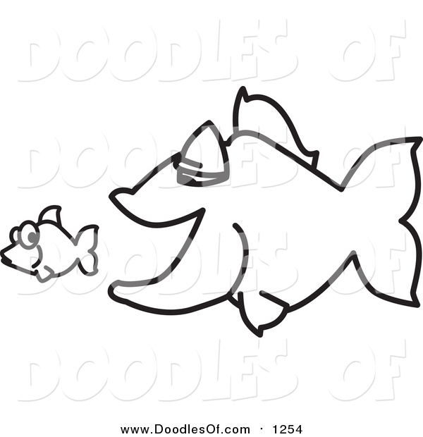 Vector Clipart of a Doodled Squiggle Big Fish Chasing a Little Fish
