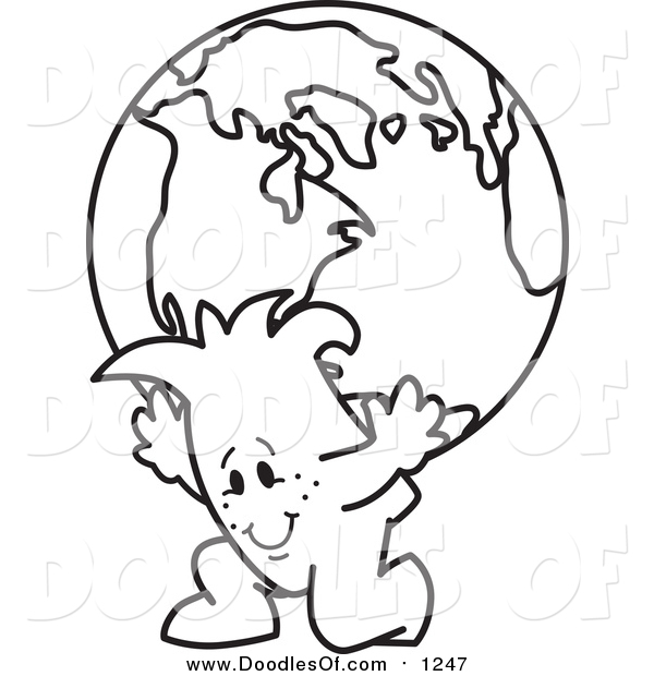 Vector Clipart of a Doodled Squiggle Guy Atlas Carrying a Globe
