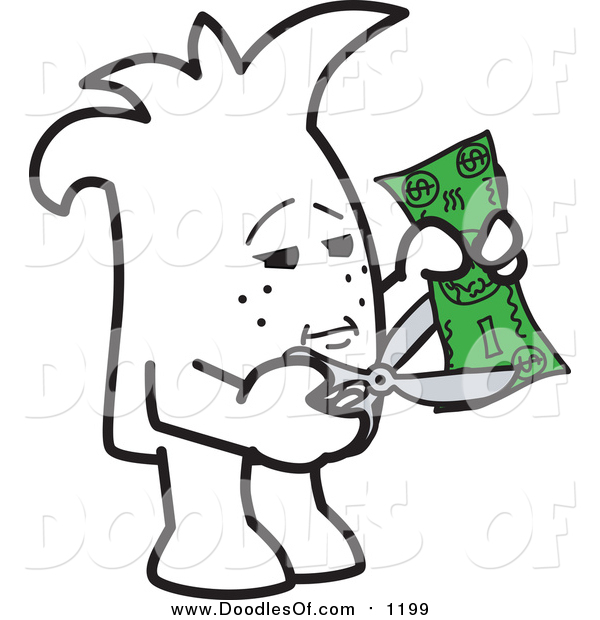 Vector Clipart of a Doodled Squiggle Guy Cutting Costs