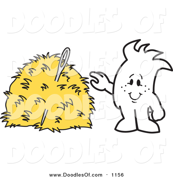 Vector Clipart of a Doodled Squiggle Guy Finding a Needle in a Hay Stack